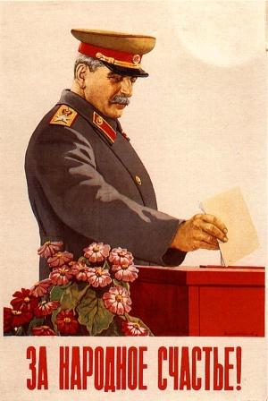 Плакат. Сталин. За народное счастье.