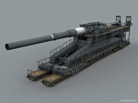 Обои, железнодорожная артиллерийская установка.