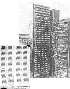 Это первая советская ЭВМ М-1, выпущенная в 1950 г. Занимала она площадь в 4 кв.м.