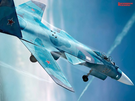 Самолет СУ с обратной стреловидностью крыла. Обои на рабочий стол, коллаж.