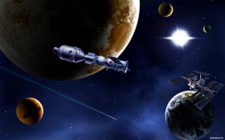 Обои космические корабли СССР на орбите.