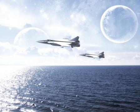Обои, советские самолеты над морем.