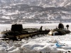 Субмарины у причала во льдах, фото.