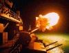 Корабельные орудия ведут огонь ночью, коллаж, обои на рабочий стол.