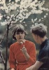 Девушка и парень на скамейке под вербой. Фото СССР.