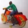 Игрушка из СССР, вид сзади. Мотоциклист.