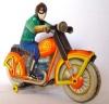 Игрушечный мотоцикл, вид спереди.